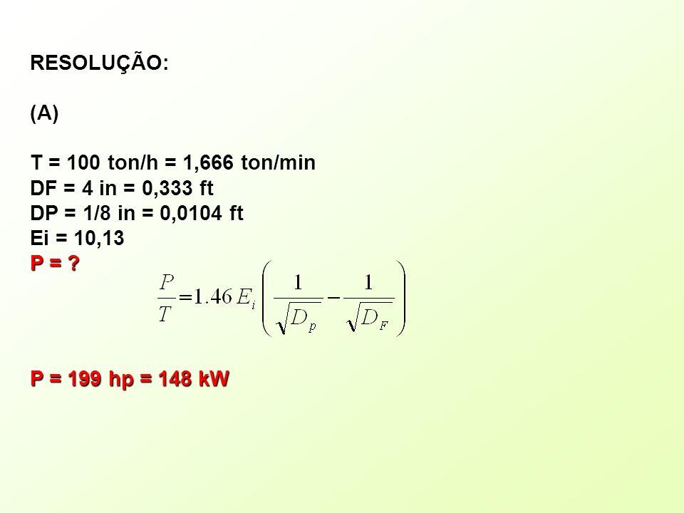 RESOLUÇÃO: (A) T = 100 ton/h = 1,666 ton/min. DF = 4 in = 0,333 ft. DP = 1/8 in = 0,0104 ft. Ei = 10,13.