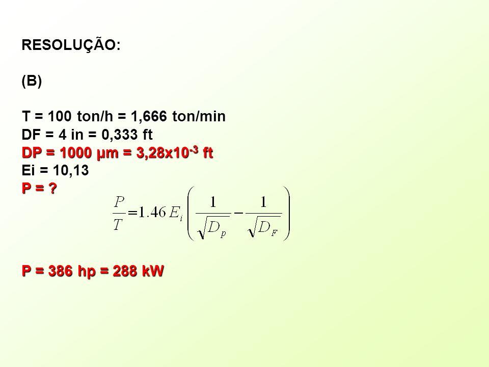 RESOLUÇÃO: (B) T = 100 ton/h = 1,666 ton/min. DF = 4 in = 0,333 ft. DP = 1000 μm = 3,28x10-3 ft.