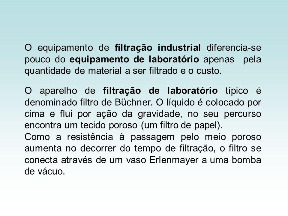 O equipamento de filtração industrial diferencia-se pouco do equipamento de laboratório apenas pela quantidade de material a ser filtrado e o custo.