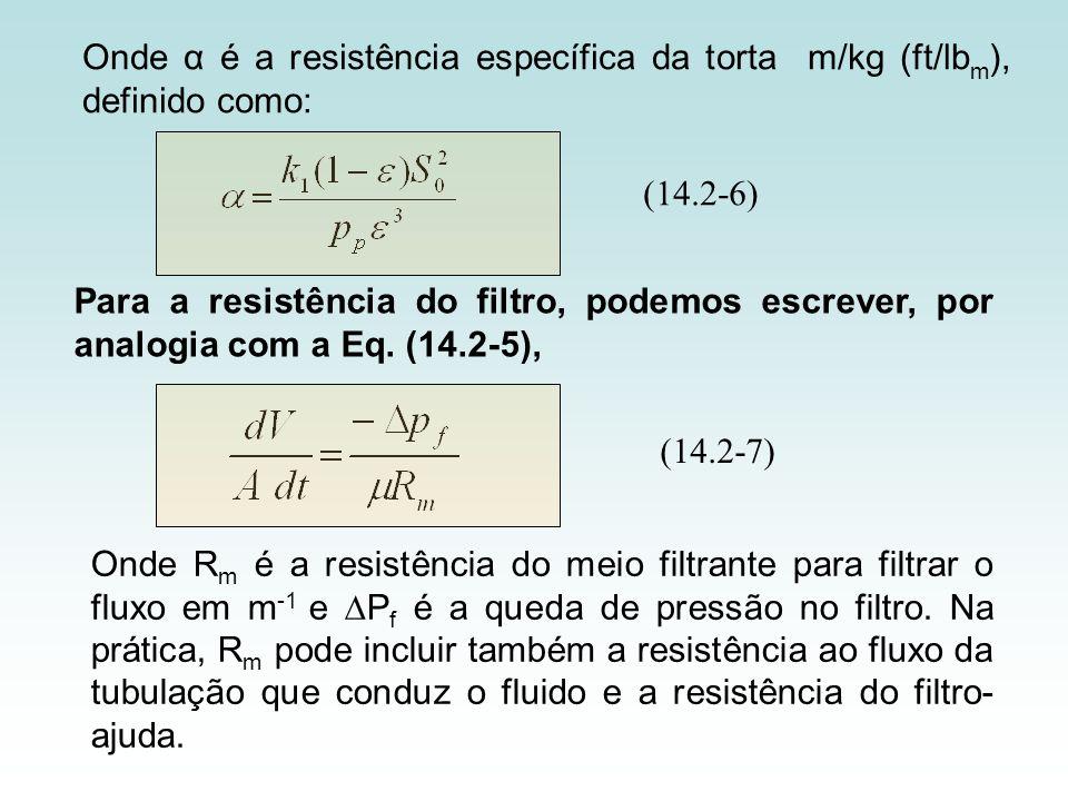 Onde α é a resistência específica da torta m/kg (ft/lbm), definido como:
