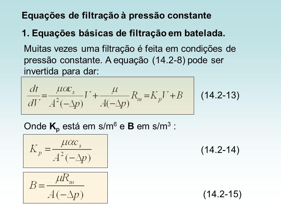Equações de filtração à pressão constante