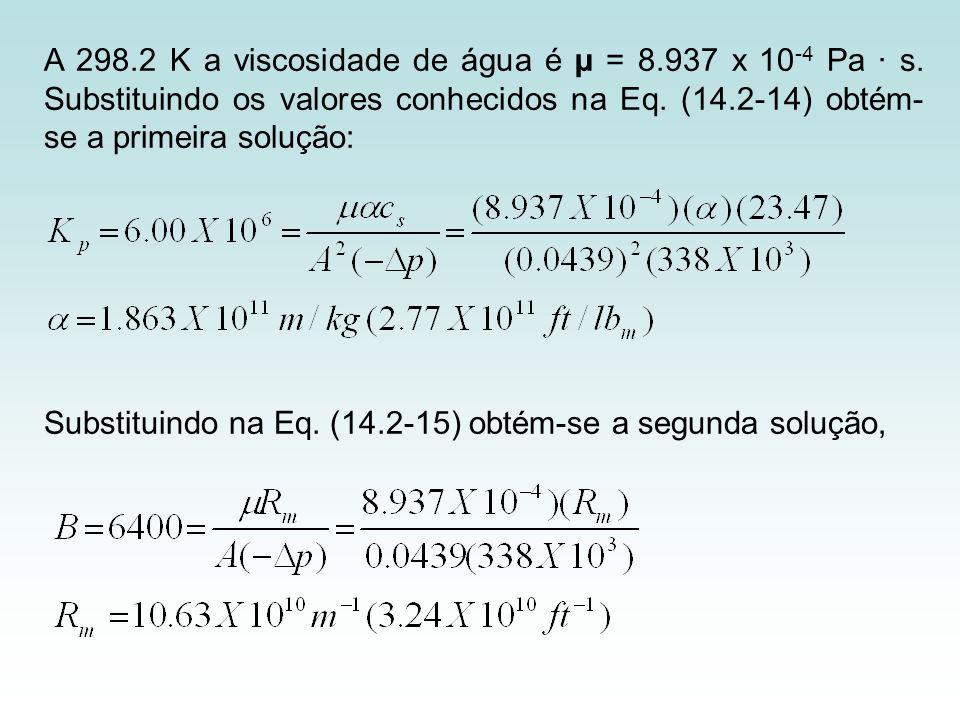 A 298. 2 K a viscosidade de água é µ = 8. 937 x 10-4 Pa · s
