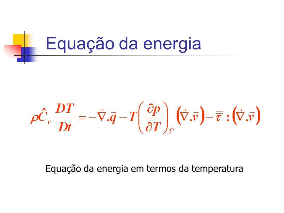 Equação da energia Equação da energia em termos da temperatura