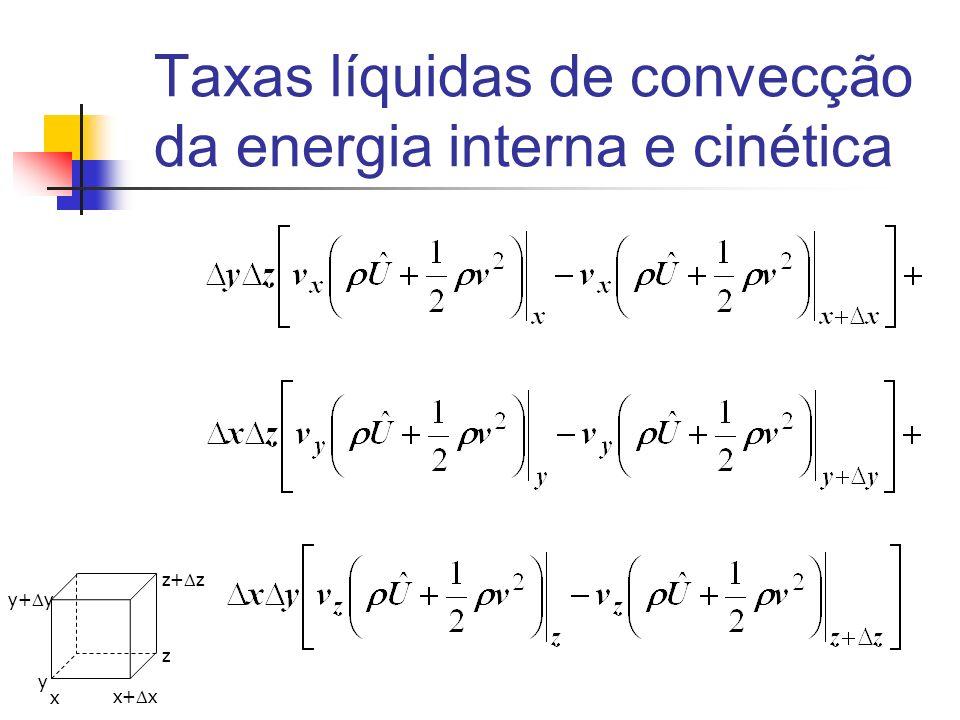 Taxas líquidas de convecção da energia interna e cinética