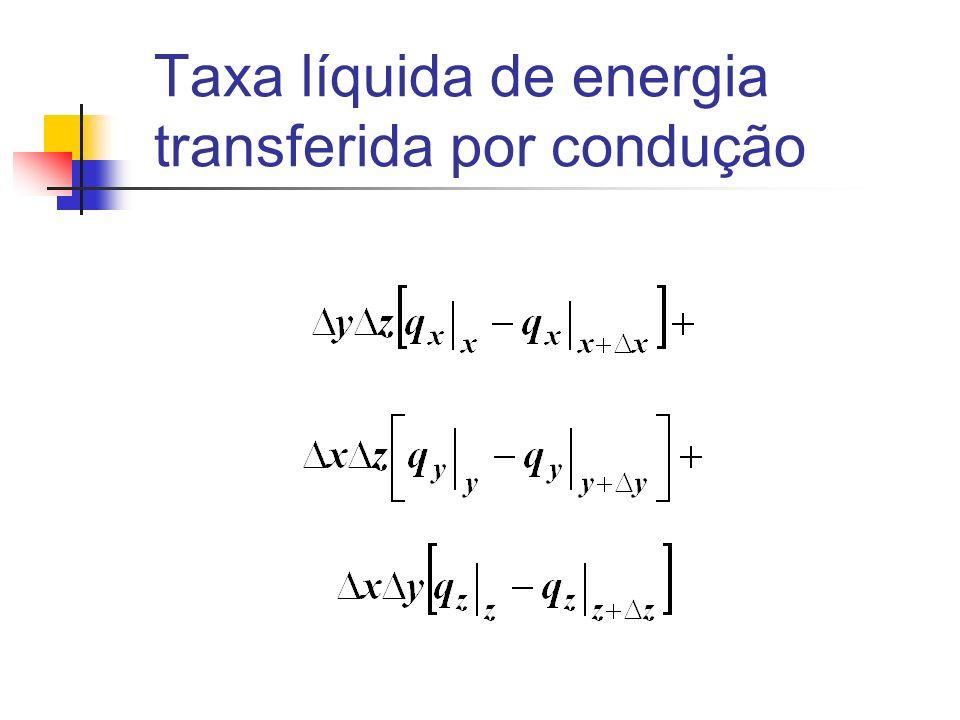 Taxa líquida de energia transferida por condução