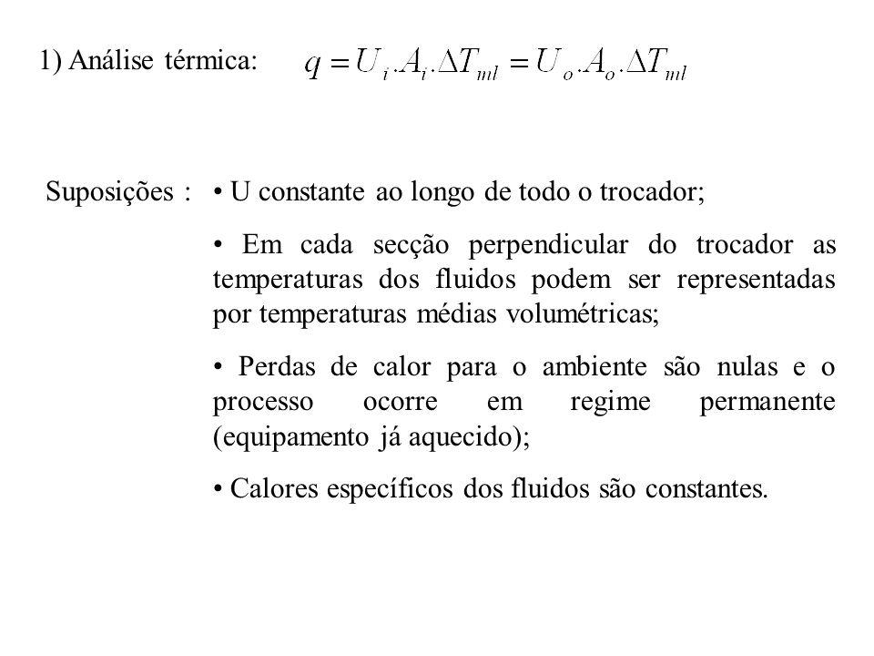 1) Análise térmica: Suposições : • U constante ao longo de todo o trocador;