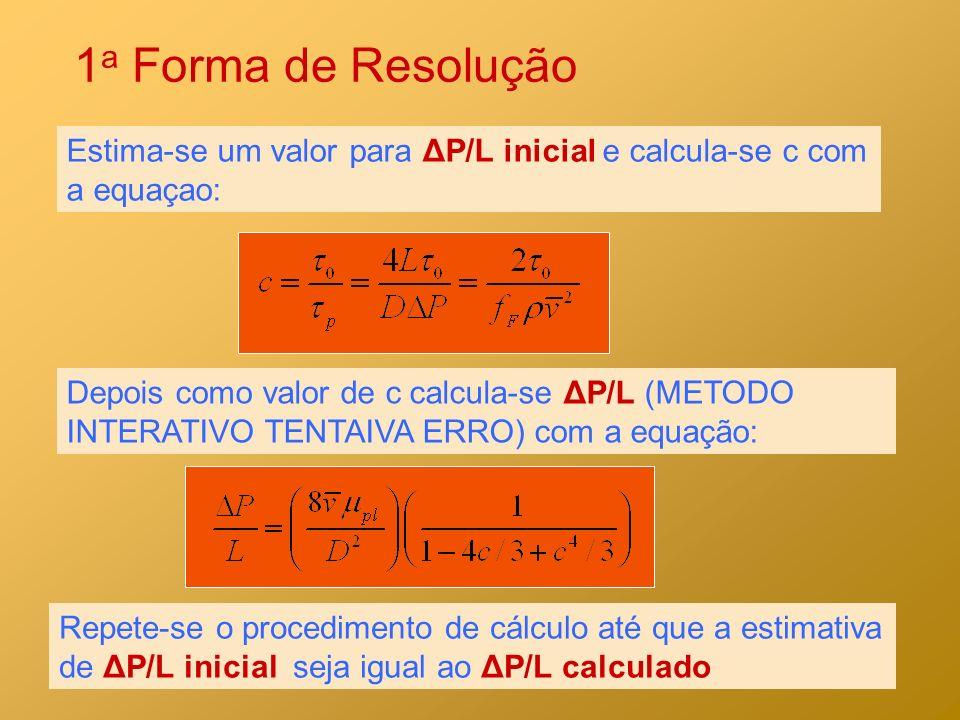 1a Forma de Resolução Estima-se um valor para ΔP/L inicial e calcula-se c com a equaçao: