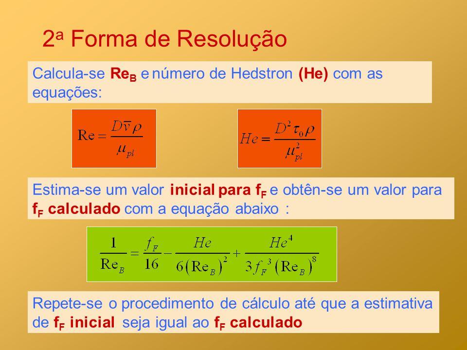 2a Forma de Resolução Calcula-se ReB e número de Hedstron (He) com as equações: