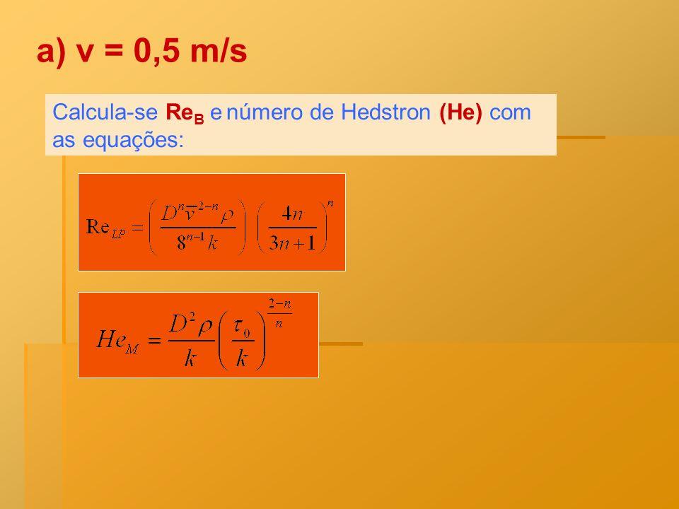 a) v = 0,5 m/s Calcula-se ReB e número de Hedstron (He) com as equações: