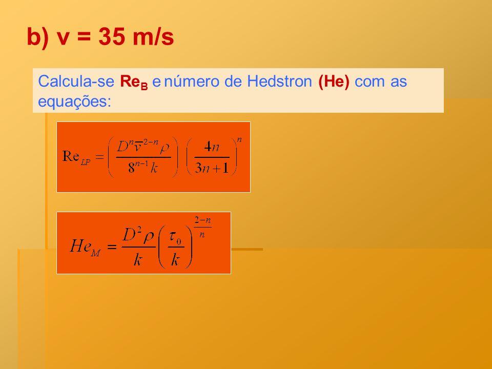 b) v = 35 m/s Calcula-se ReB e número de Hedstron (He) com as equações: