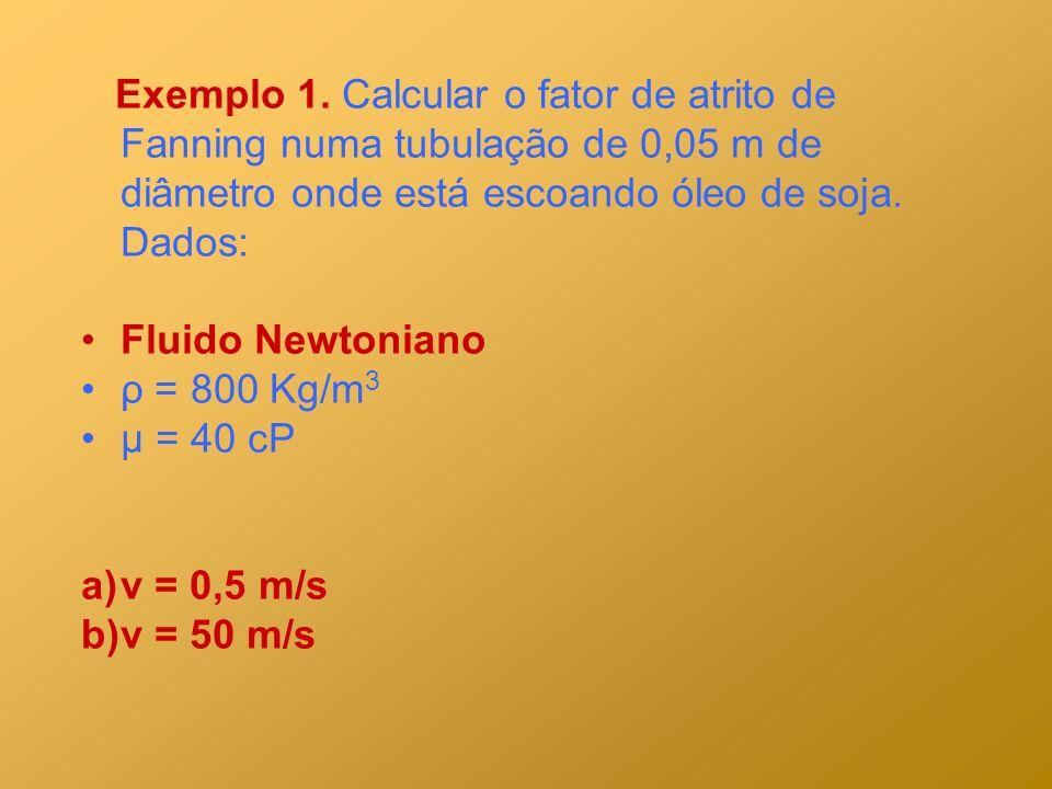 Exemplo 1. Calcular o fator de atrito de Fanning numa tubulação de 0,05 m de diâmetro onde está escoando óleo de soja. Dados: