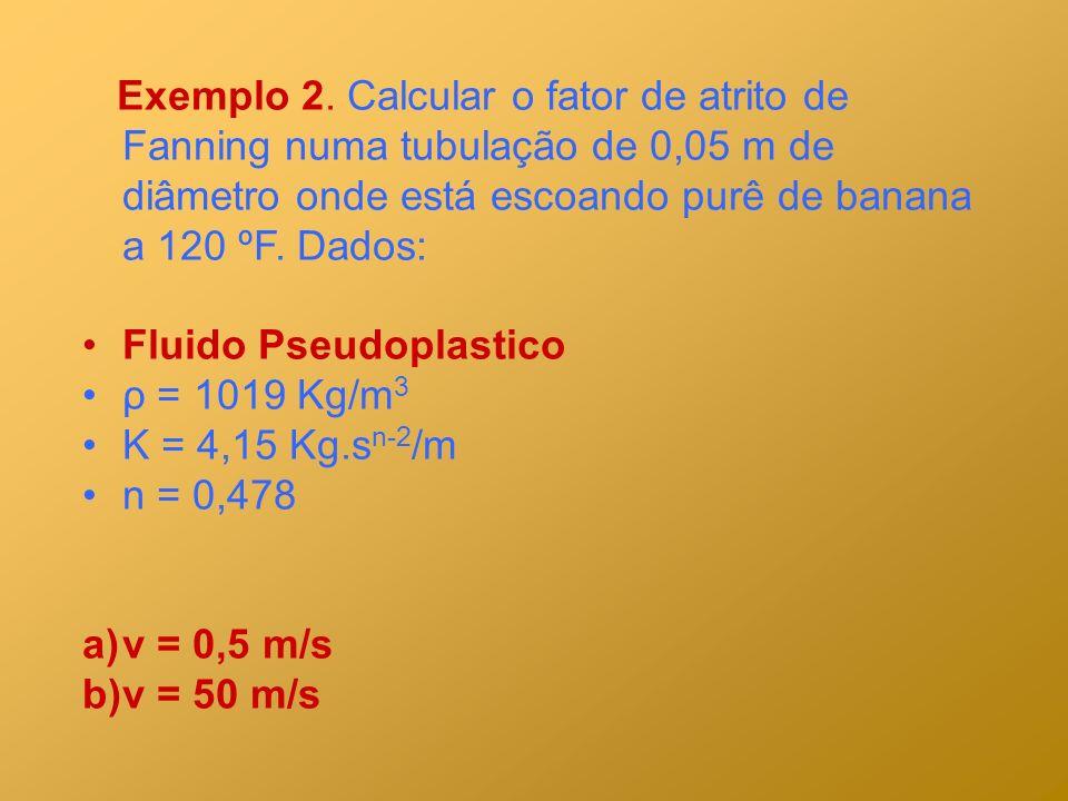 Exemplo 2. Calcular o fator de atrito de Fanning numa tubulação de 0,05 m de diâmetro onde está escoando purê de banana a 120 ºF. Dados: