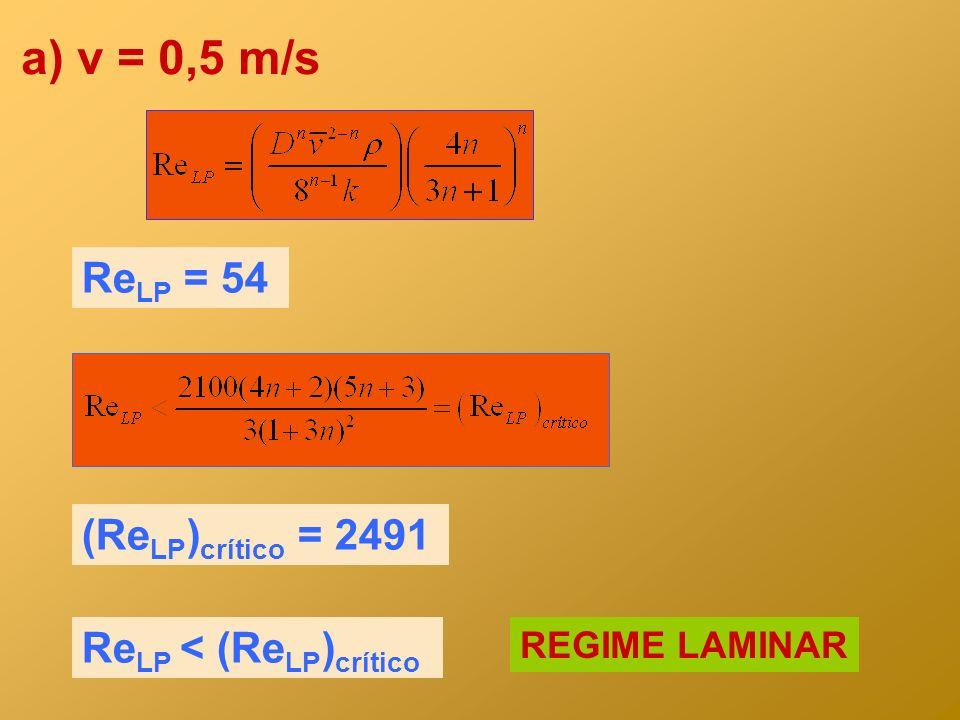 a) v = 0,5 m/s ReLP = 54 (ReLP)crítico = 2491 ReLP < (ReLP)crítico