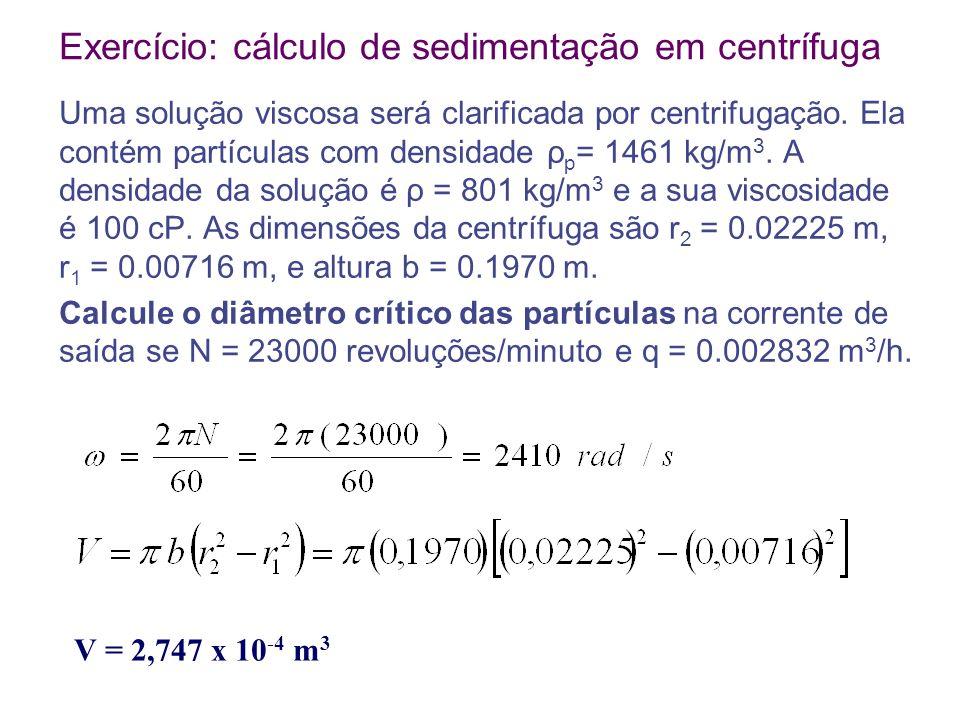 Exercício: cálculo de sedimentação em centrífuga