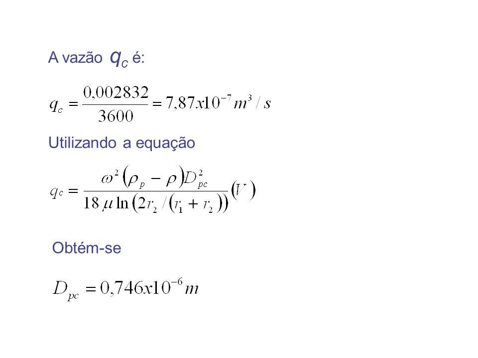A vazão qc é: Utilizando a equação Obtém-se