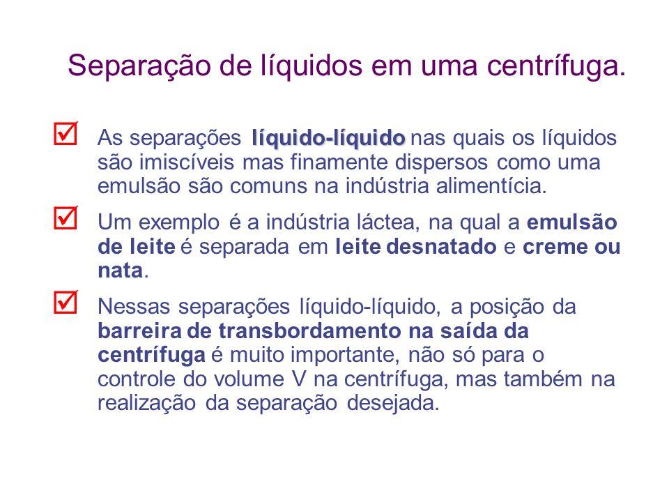 Separação de líquidos em uma centrífuga.