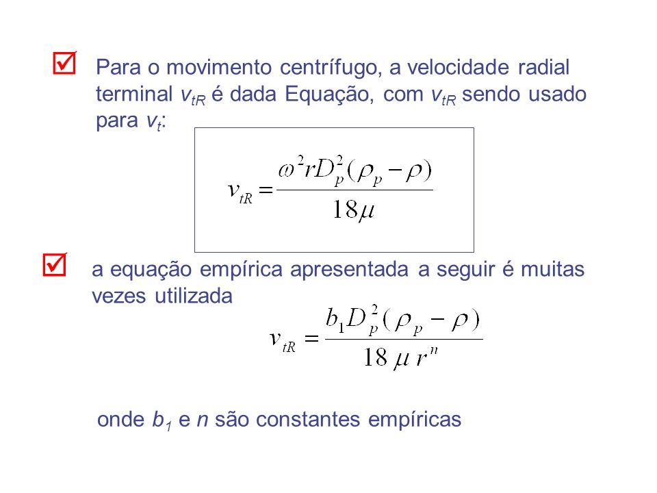 Para o movimento centrífugo, a velocidade radial terminal vtR é dada Equação, com vtR sendo usado para vt: