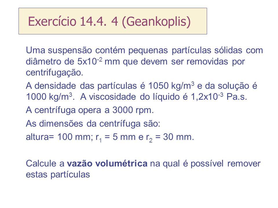 Exercício 14.4. 4 (Geankoplis)