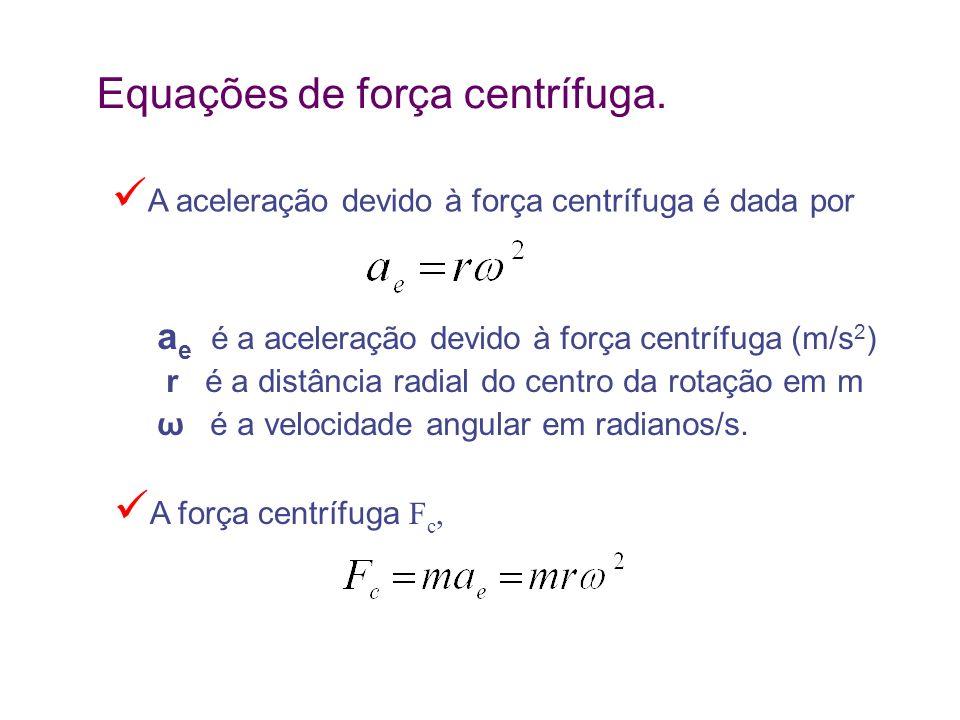 Equações de força centrífuga.