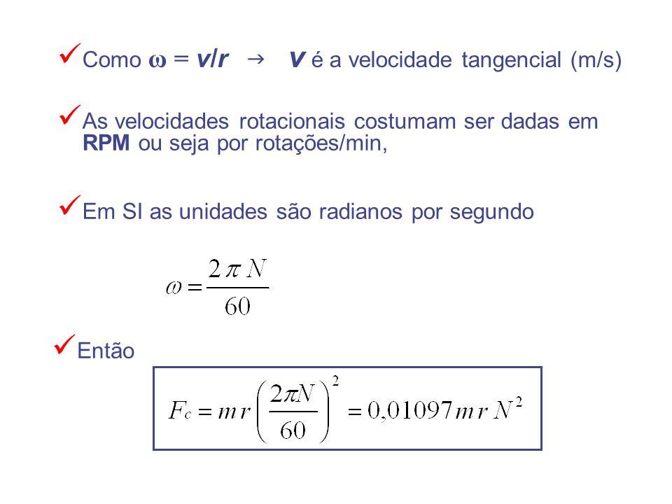 Como ω = v/r g v é a velocidade tangencial (m/s)
