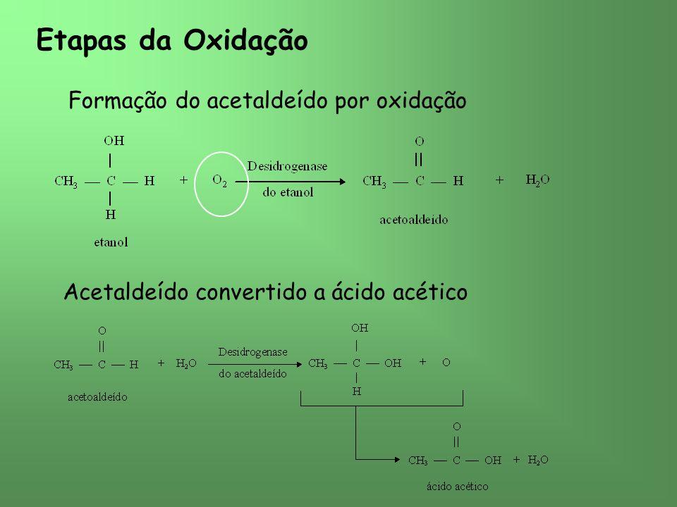 Etapas da Oxidação Formação do acetaldeído por oxidação