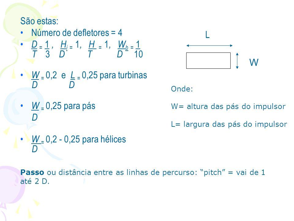 São estas: Número de defletores = 4 D = 1 , Hi = 1, H = 1, Wb = 1 L