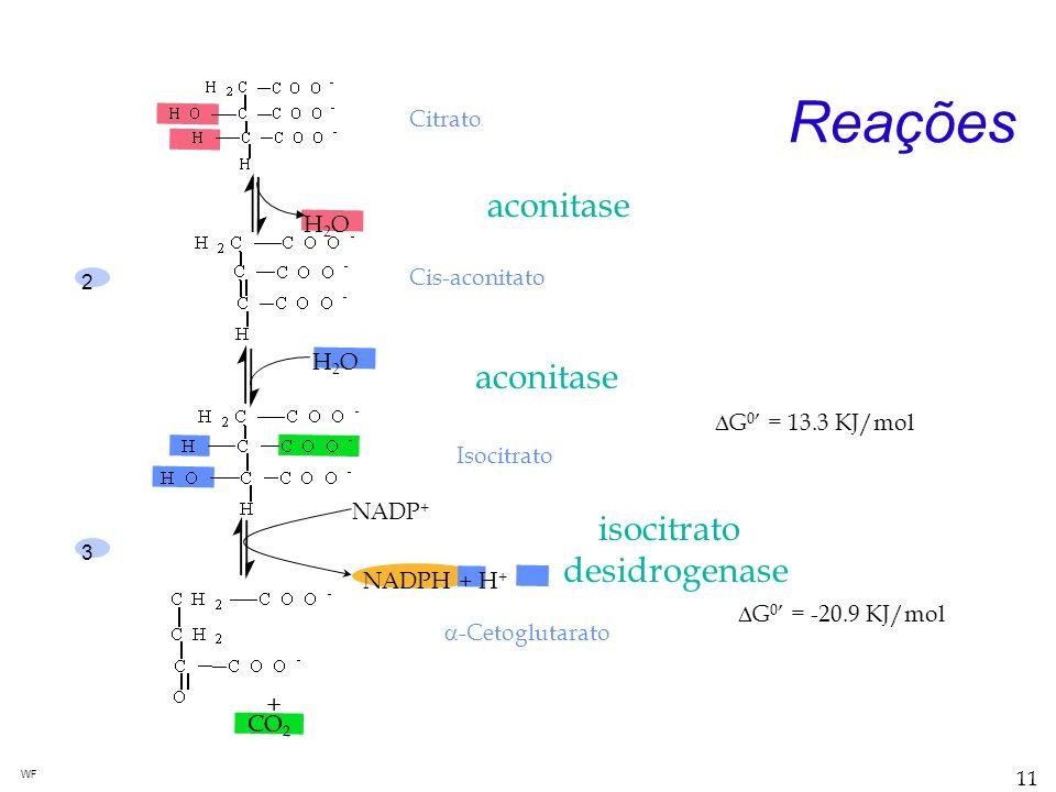 Reações aconitase aconitase isocitrato desidrogenase + Citrato H2O