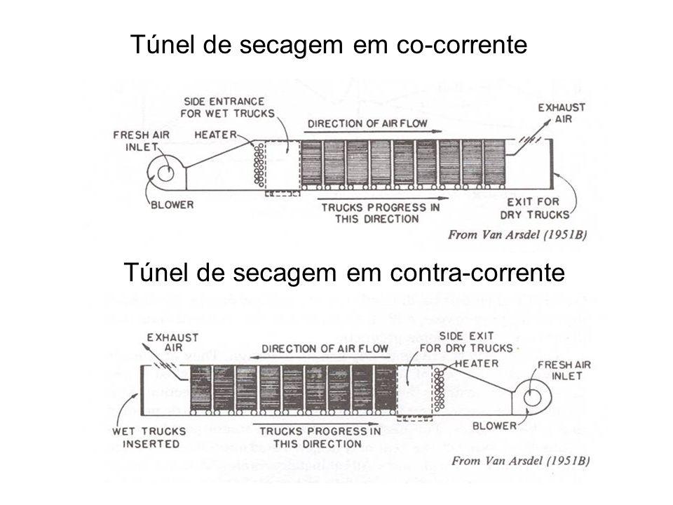 Túnel de secagem em co-corrente