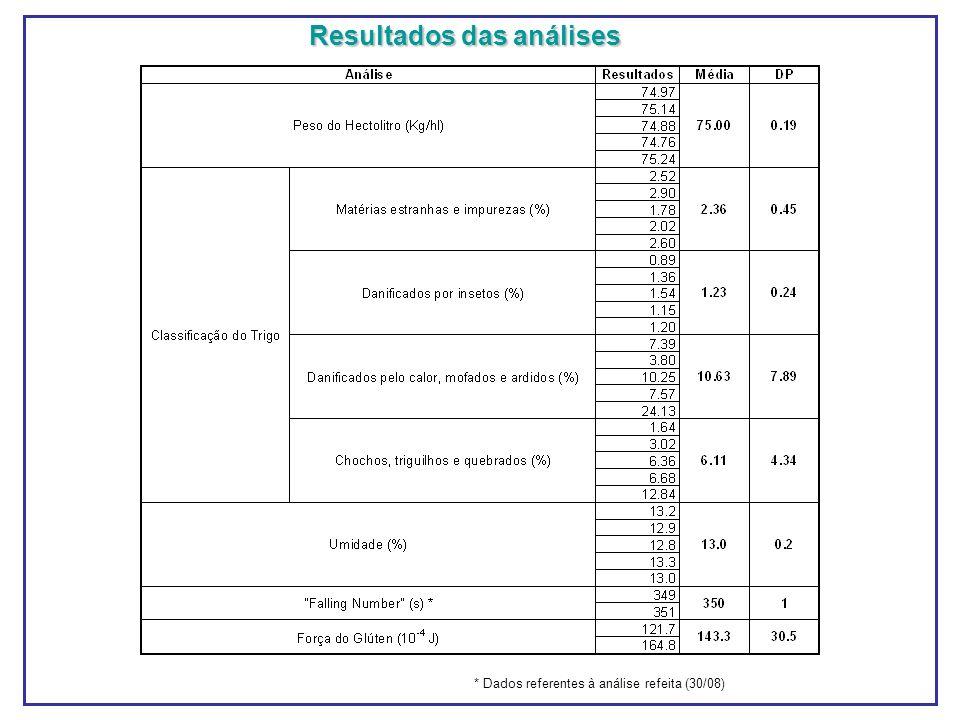 Resultados das análises