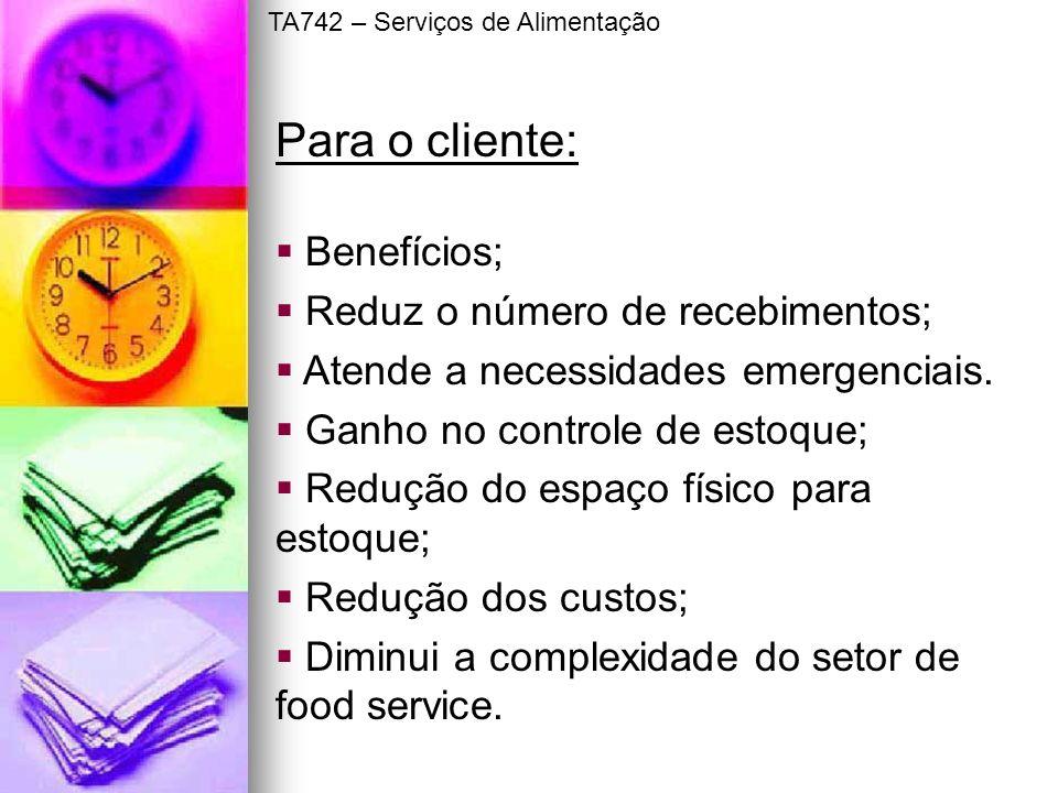 Para o cliente: Benefícios; Reduz o número de recebimentos;