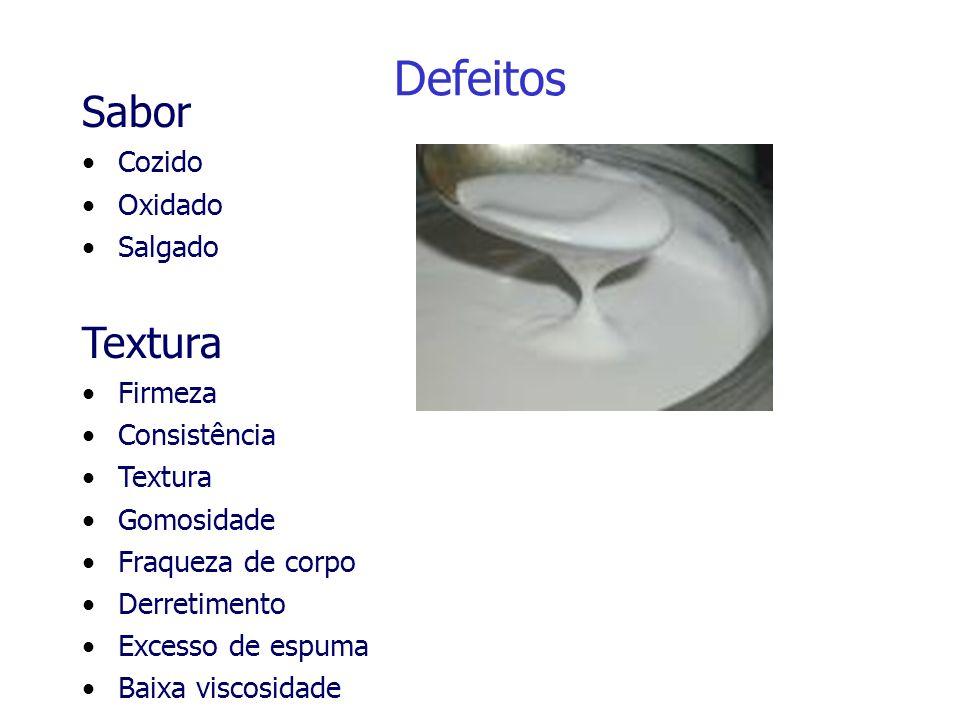 Defeitos Sabor Textura Cozido Oxidado Salgado Firmeza Consistência