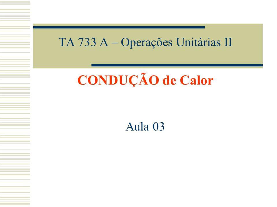 TA 733 A – Operações Unitárias II CONDUÇÃO de Calor