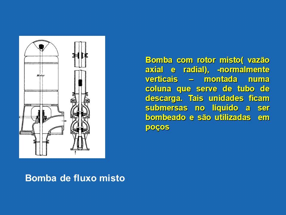 Bomba com rotor misto( vazão axial e radial), -normalmente verticais – montada numa coluna que serve de tubo de descarga. Tais unidades ficam submersas no líquido a ser bombeado e são utilizadas em poços