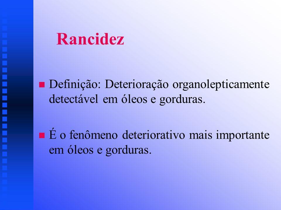 Rancidez Definição: Deterioração organolepticamente detectável em óleos e gorduras.