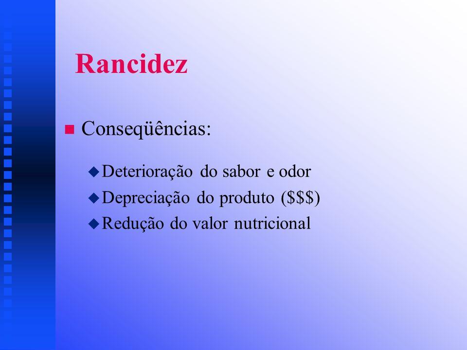 Rancidez Conseqüências: Deterioração do sabor e odor