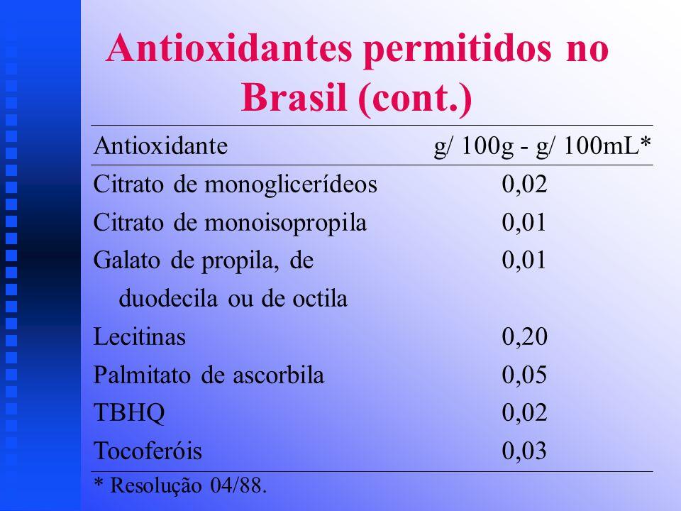 Antioxidantes permitidos no Brasil (cont.)