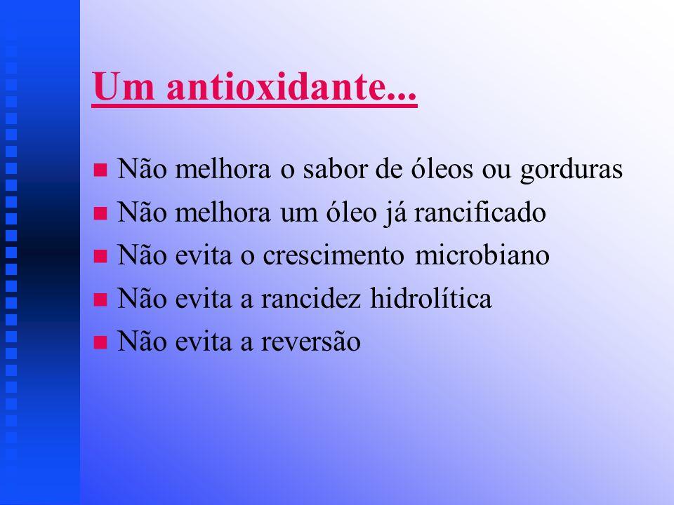 Um antioxidante... Não melhora o sabor de óleos ou gorduras