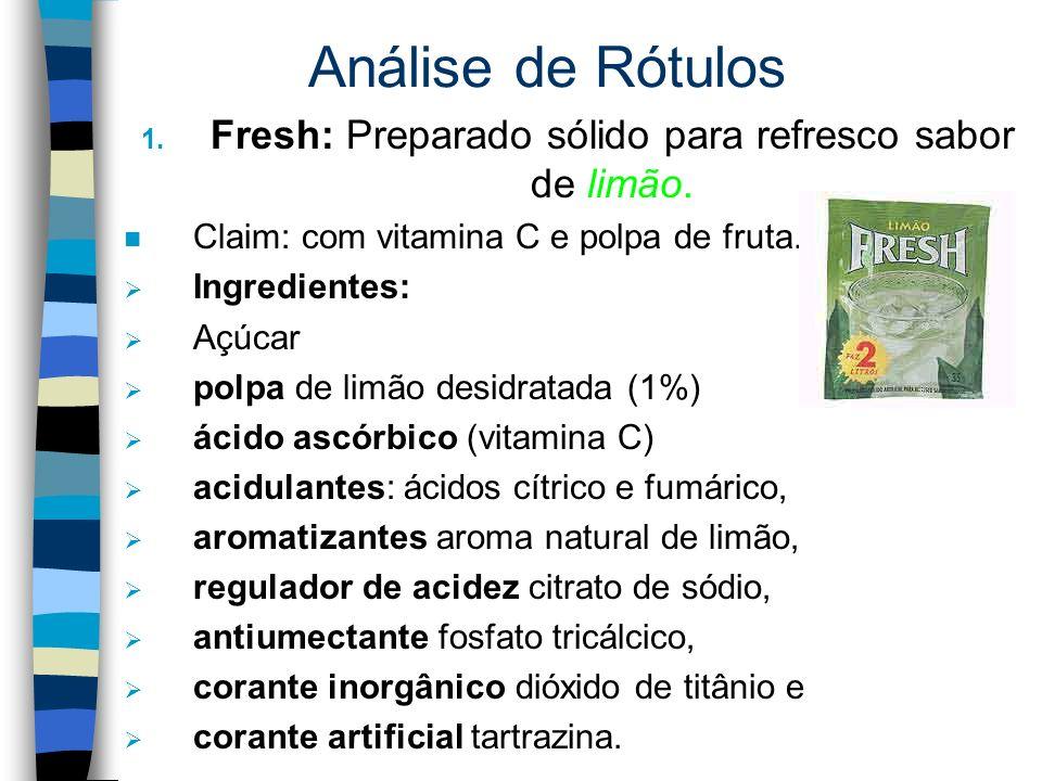Fresh: Preparado sólido para refresco sabor de limão.