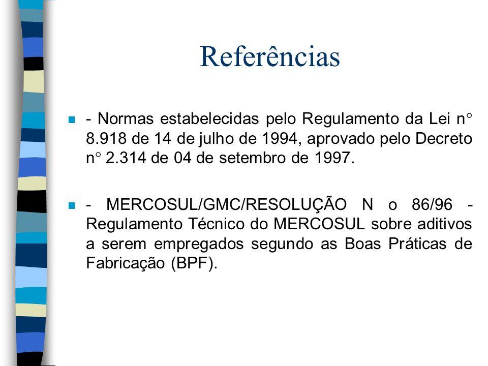 Referências - Normas estabelecidas pelo Regulamento da Lei n° 8.918 de 14 de julho de 1994, aprovado pelo Decreto n° 2.314 de 04 de setembro de 1997.