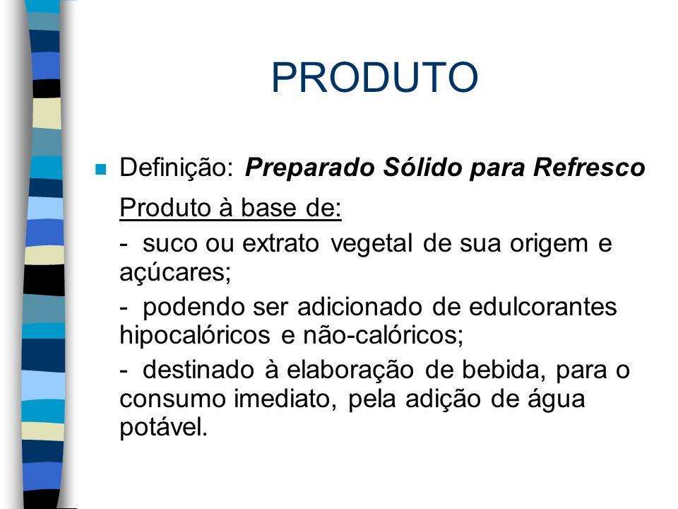 PRODUTO Produto à base de: Definição: Preparado Sólido para Refresco