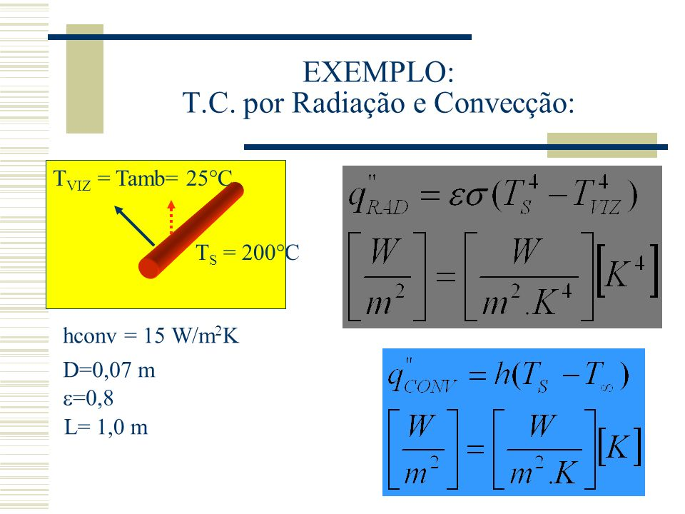 EXEMPLO: T.C. por Radiação e Convecção: