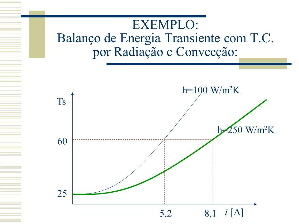EXEMPLO: Balanço de Energia Transiente com T. C