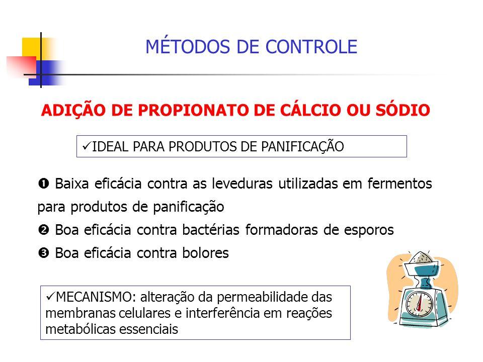 MÉTODOS DE CONTROLE ADIÇÃO DE PROPIONATO DE CÁLCIO OU SÓDIO