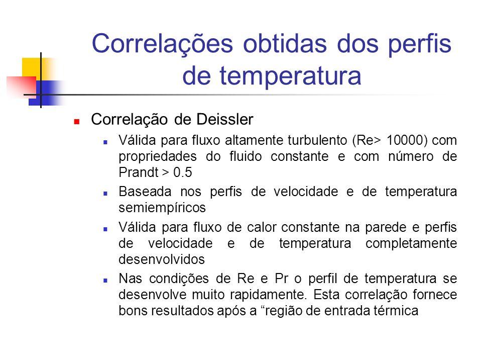 Correlações obtidas dos perfis de temperatura