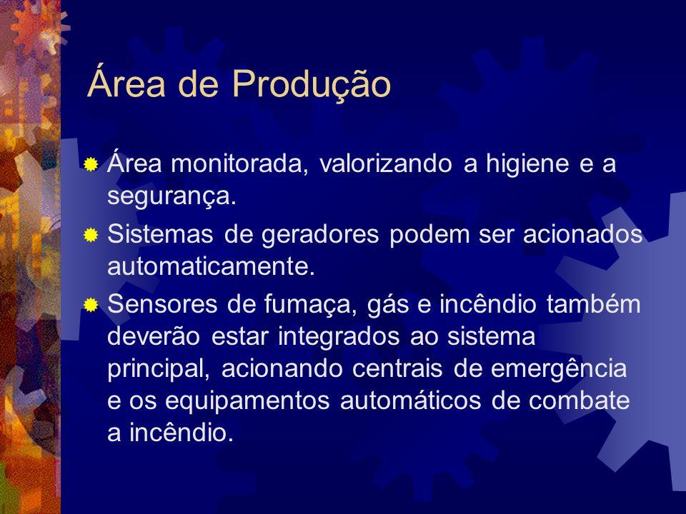 Área de Produção Área monitorada, valorizando a higiene e a segurança.