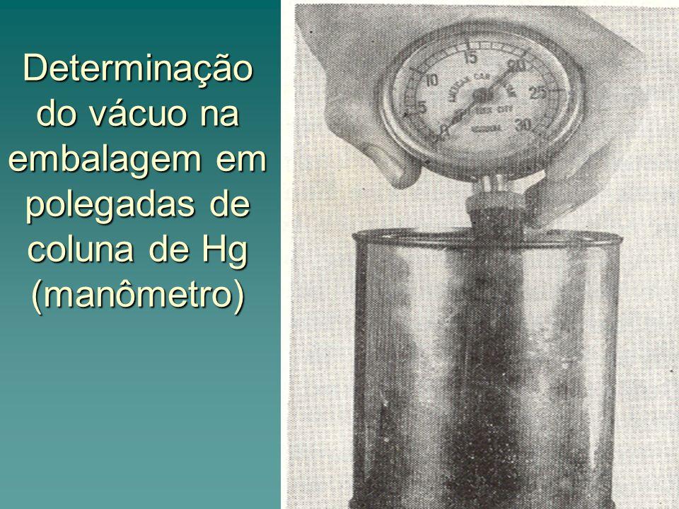 Determinação do vácuo na embalagem em polegadas de coluna de Hg (manômetro)