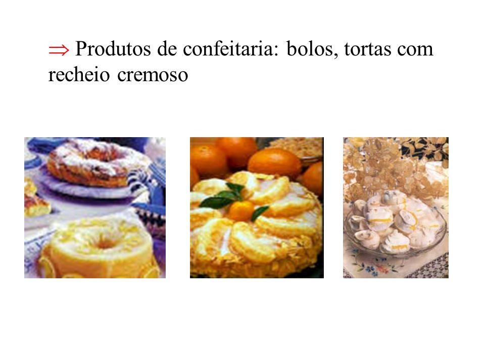  Produtos de confeitaria: bolos, tortas com