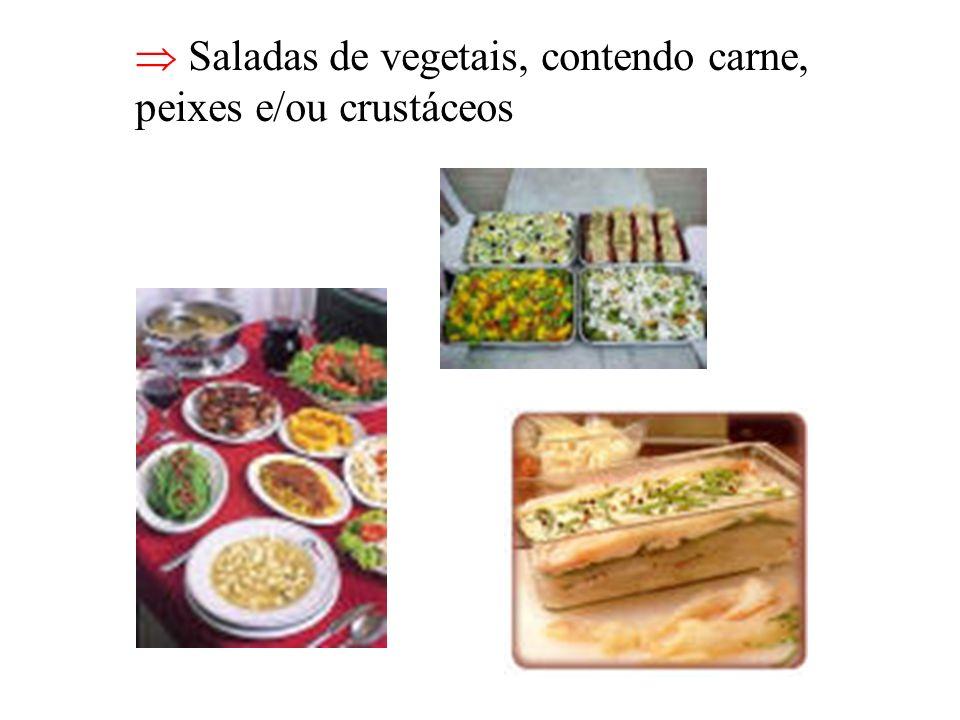  Saladas de vegetais, contendo carne,
