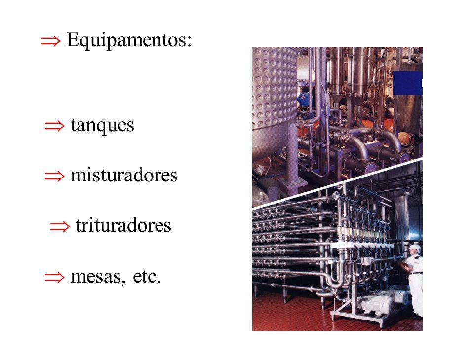  Equipamentos:  tanques  misturadores  trituradores  mesas, etc.
