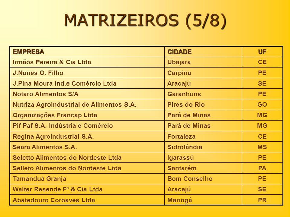 MATRIZEIROS (5/8) CE Ubajara Irmãos Pereira & Cia Ltda PE Carpina